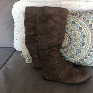 Rustic Brown faux leather suede boots